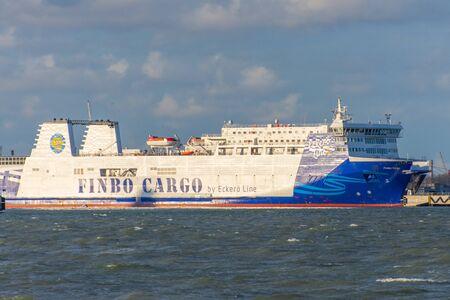 Cruiseferry Cargo Finlandia of Eckero Line departs to Tallinn. Russia, Estonia, November 30, 2011