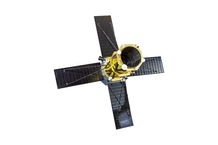 Spaceship satellite telescope with four solar panels open, isolated on white background