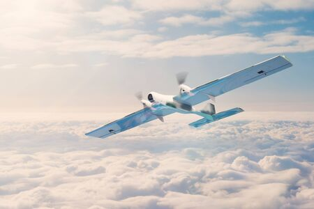Unmanned aerial vehicle with security cameras flies above the clouds Stock Photo