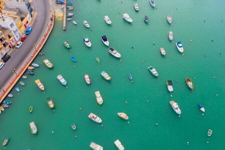 City bay in Europe with boats, aerial view 스톡 콘텐츠