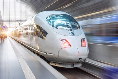 Super streamlined passenger train rides in the city