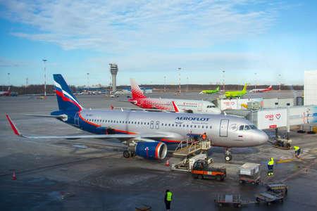 Airbus a320 Aeroflot airlines, airport Pulkovo, Russia Saint-Petersburg. 25 february 2020 Editorial