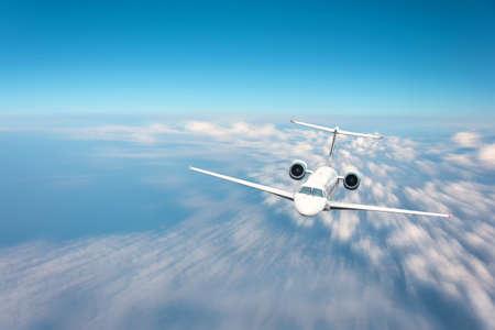 Jet plane flying on blur motion sky background