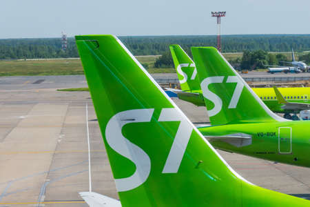 Airbus a321 S7 airlines tail view, airport Domodedovo International Airport, Russia Moscow, 07 july 2020