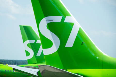 Airbus a320 S7 airlines tail view, airport Domodedovo International Airport, Russia Moscow, 07 july 2020