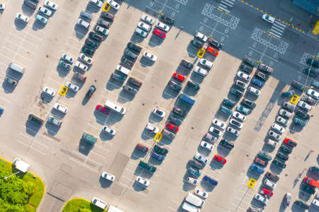 Open air parking for residents of the area, top aerial view from high
