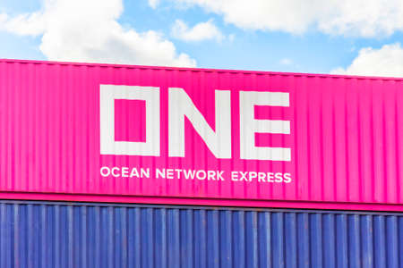 Ocean Network Express ONE Container locates at Terminal Depot. Russia, Saint-Petersburg. 23 july 2020 Editorial
