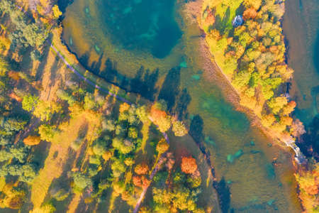 Islands and coast of a pond with autumn trees forest, aerial top view