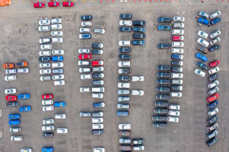 An aerial view of a new car parking area