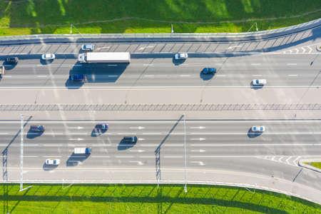 Cars driving on urban traffic road markup, aerial top view Zdjęcie Seryjne