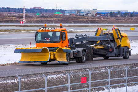 Special snow blower machine for cleaning taxiways and airport runways
