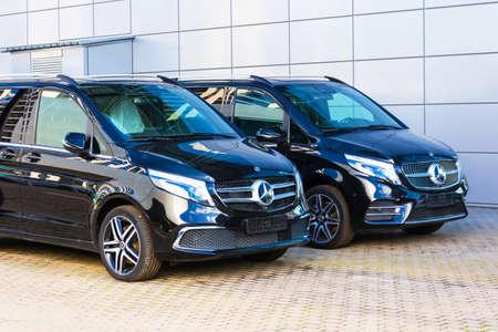 Black Mercedes-Benz V class, front view minivan in a parking lot. Russia, Saint-Petersburg. 26 august 2020 Editoriali
