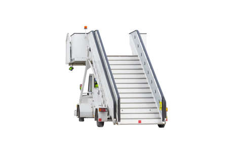 Passenger ladder boarding mobile ramp isolated on white background