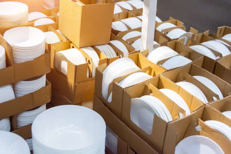 New deep white plates for liquid food in boxes for sale