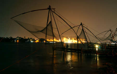 chinese fishing nets: Nighscape of the Chinese fishing nets Stock Photo