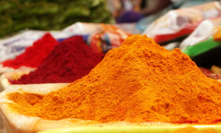 Traditional Indian Spices for Sale Archivio Fotografico