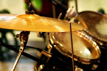 musical instrument parts: Band of performing musical drums Stock Photo