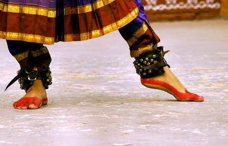 kuchipudi: Dancing feet of Classical dancer Stock Photo