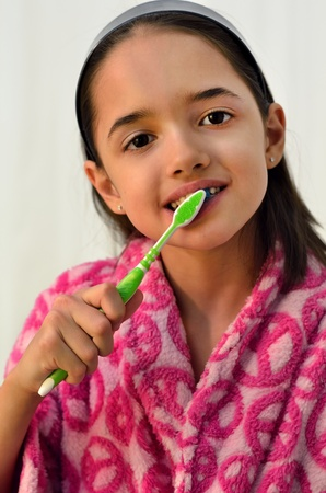 Little Hispanic Girl Oral Hygiene Archivio Fotografico
