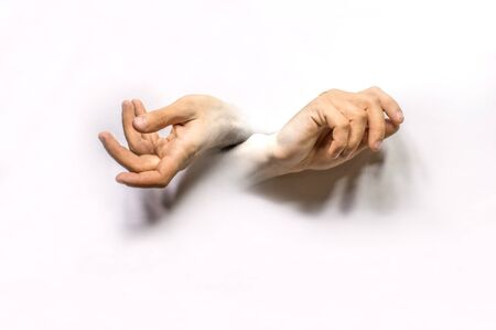 hands merge with a white background