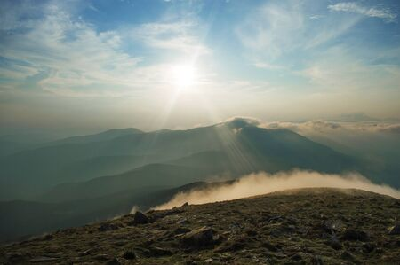 sunset in the mountains, beautiful Ukrainian landscapes, vacation, traveling, trekking in the wild, solitude