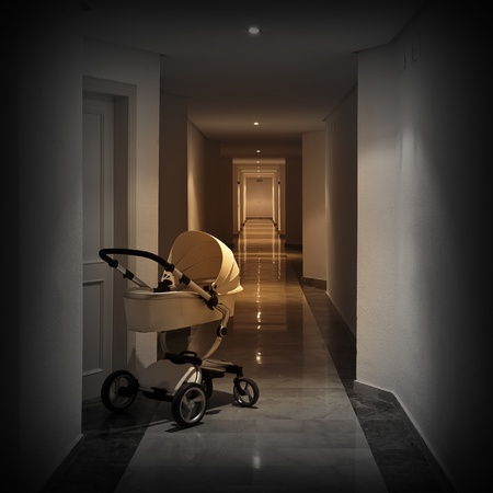 births: Baby cart in corridor of apartments