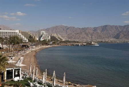 Central beach of Eilat on the Red Sea,Israel, during the winter