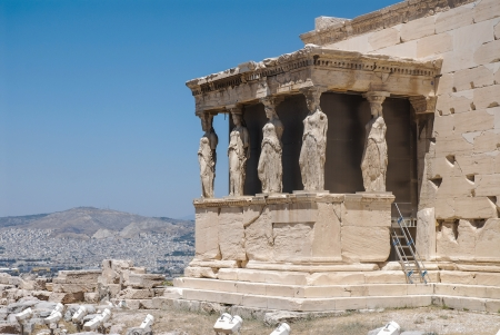 caryatids: The Temple of Erechtheion at Acropolis in Athens