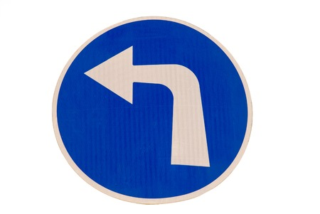 compulsory: Road sign  Compulsory turn left only