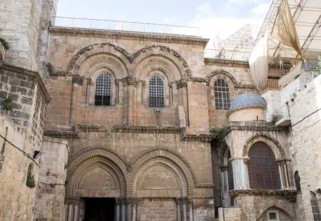 sepulcher: Facade detail at the Church of the Holy Sepulcher in Jerusalem, Israel