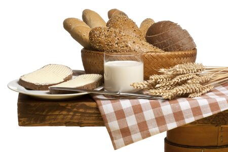bread basket: still life with bread Stock Photo