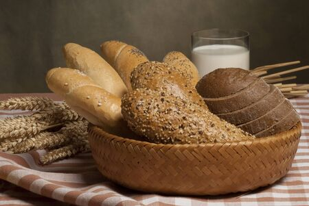 spalt: still life with bread and milk Stock Photo