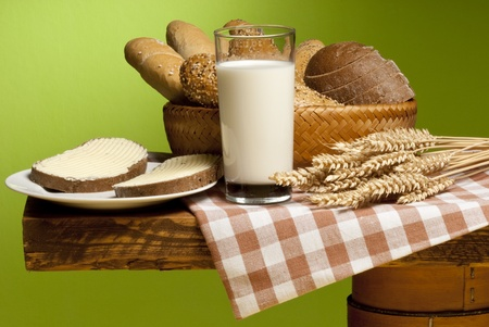 spalt: bread with milk Stock Photo