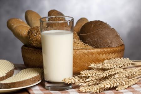 bread with milk Stock Photo
