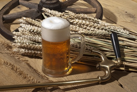beer foam: still life with beer Stock Photo