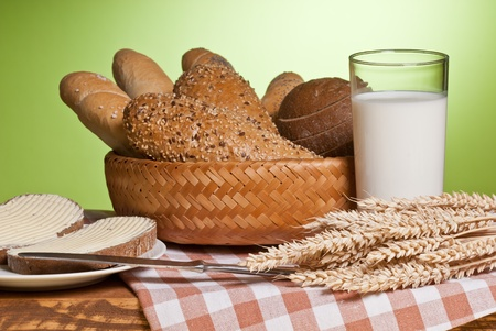 spalt: milk and bread Stock Photo