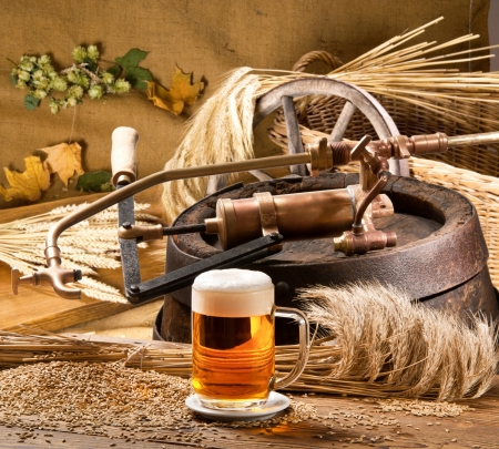 brassy: still life with beer Stock Photo