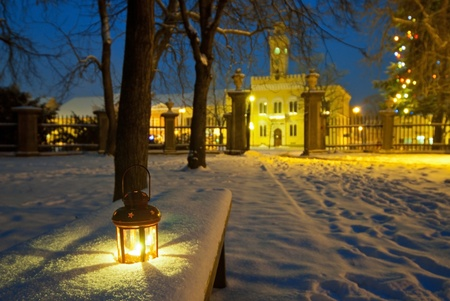 park in winter at dask photo