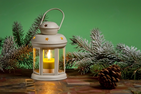 candlelight: christmas lantern Stock Photo