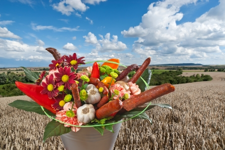 gillyflower: bouquet with sausages Stock Photo