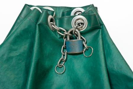 tarpaulin: padlock with chain