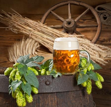 hop cone: hop cone with beer