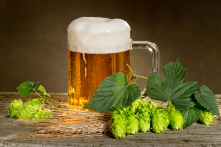 still life with beer and hops Imagens