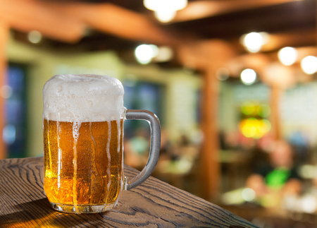 restauration: beer glass in pub Stock Photo