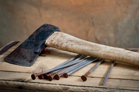 hatchet:  hatchet and nails