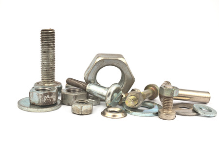 chromium plated: bolts and nuts isolated Stock Photo