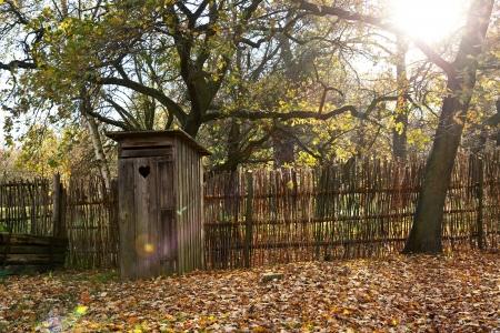 latrine: a old wooden latrine Stock Photo