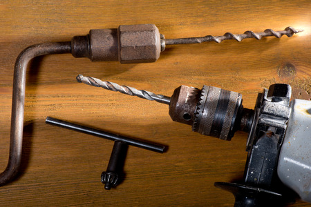 auger:  electric drill and hand auger