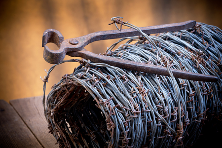 barbed wire and old cutter
