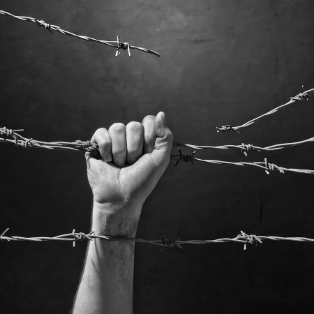 hand behind barbed wire photo